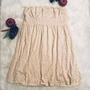 Strapless lace dress.